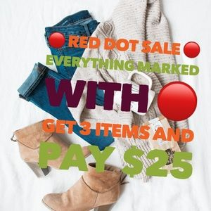 Red dot 🔴 sale! Get 3 items pay $25